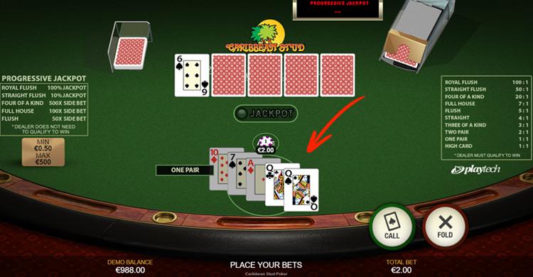 caribbean stud poker kaarten