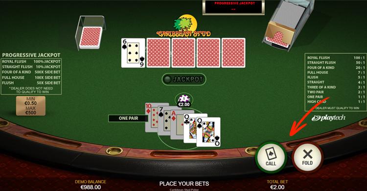 caribbean stud poker spelen