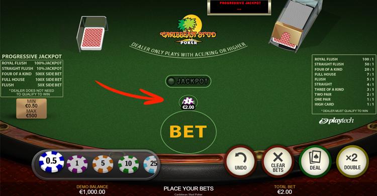 caribbean stud poker stap 1