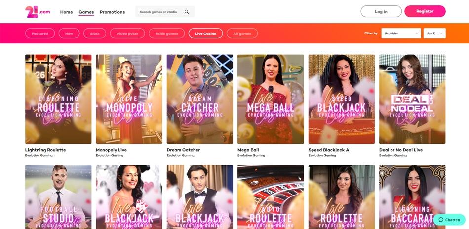 21.com live casino